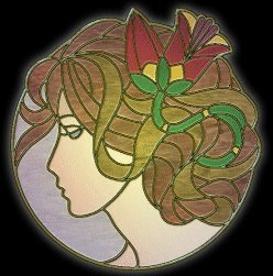 stained glass woman in profile graphic