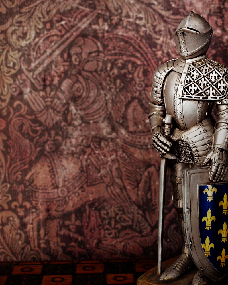 knight standing in front of knight monochrome background