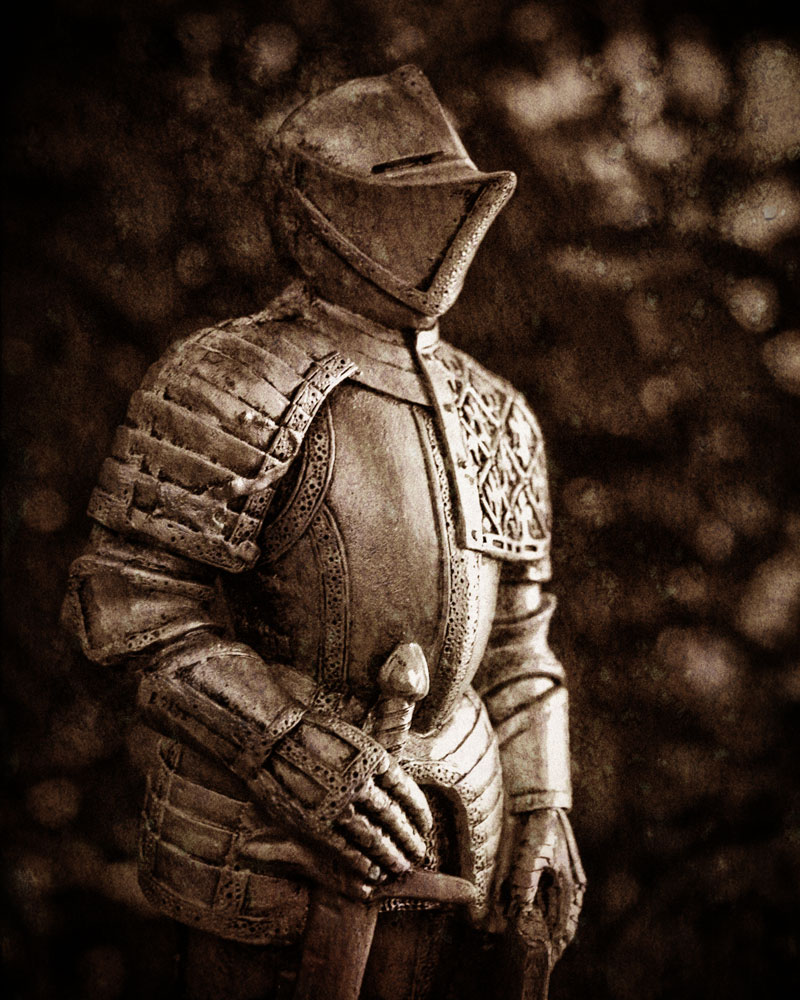 grainy black and white knight figurine