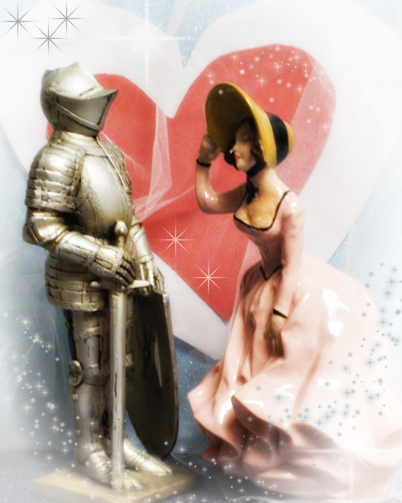 knight figure in front of heart with porcelain lady