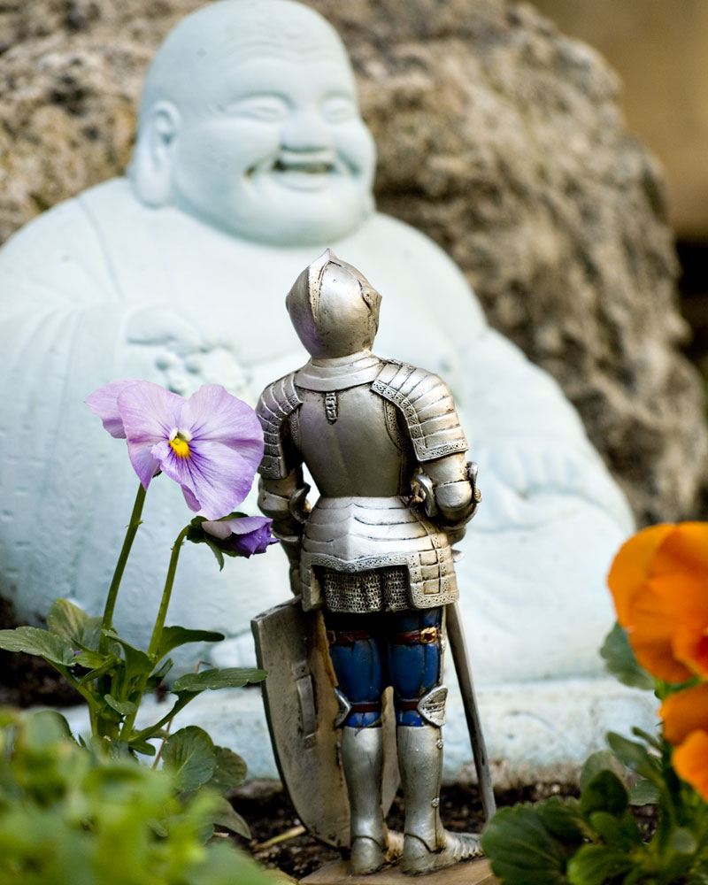 knight figure in garden looking at buddha figure