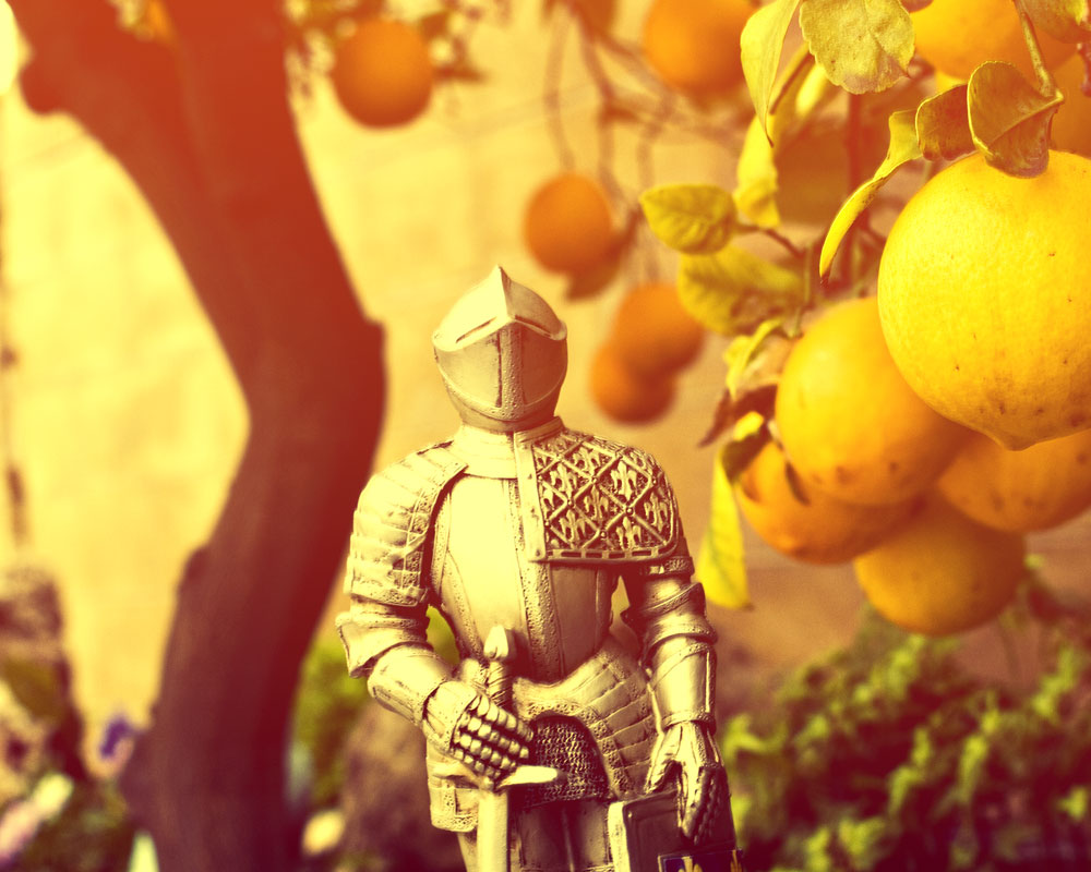 knight figure in golden sunset with loaded orange tree