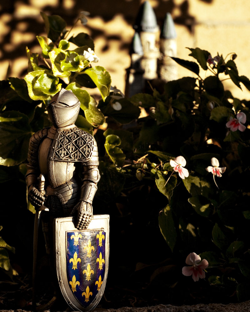 knight figure in garden