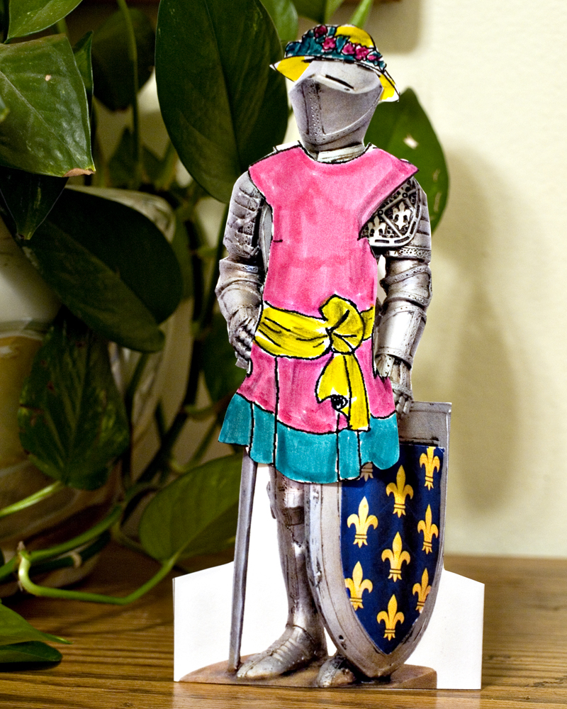knight paperdoll in pink dress