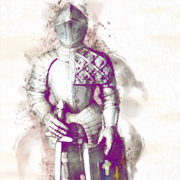 watercolor render of knight figure