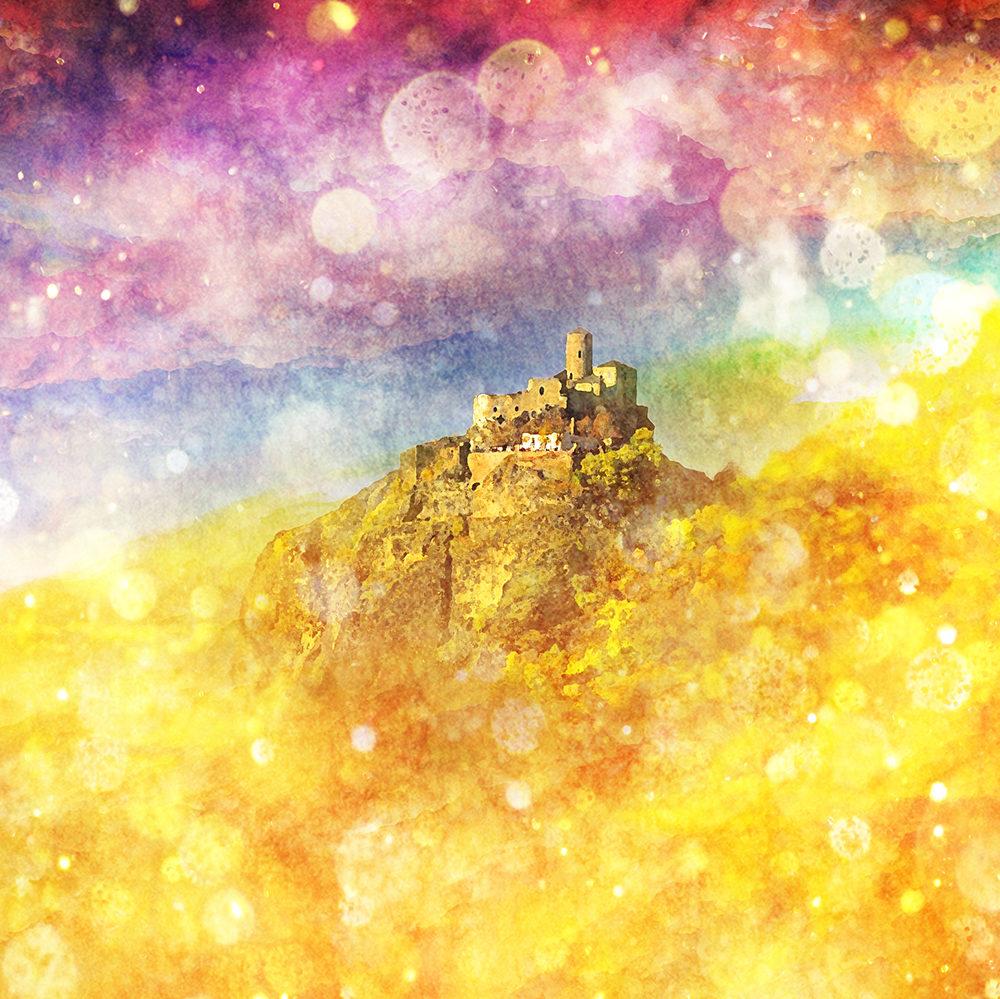 digital art of castle and rainbow