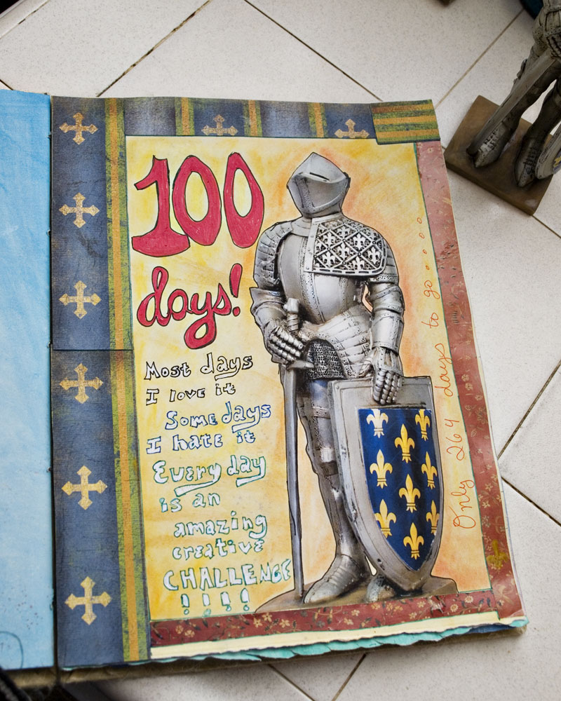 100 Days art journal page with picture of knight figure