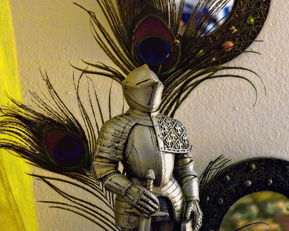 knight with peacock feathers