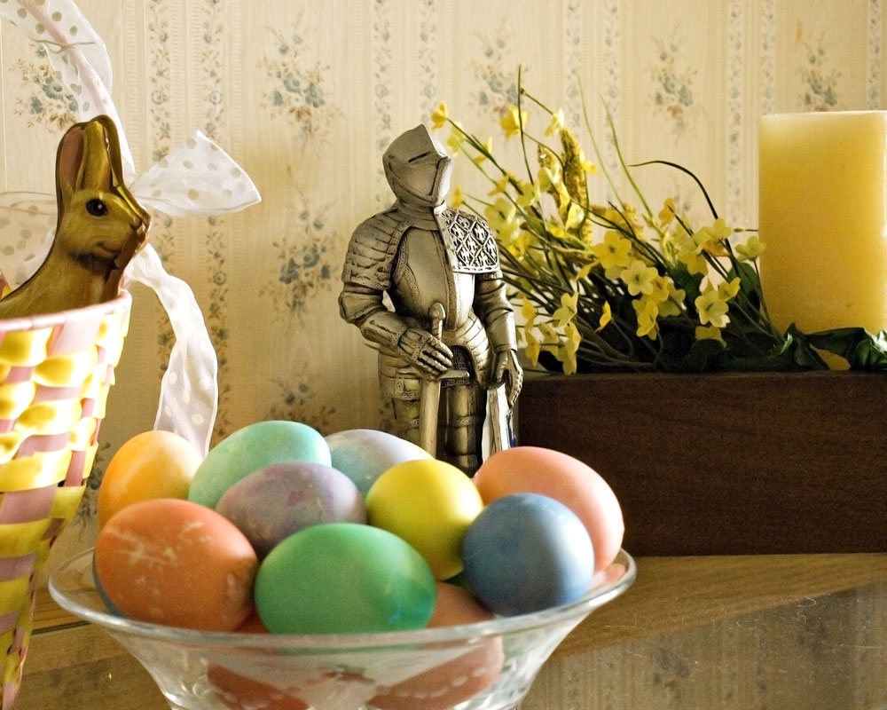 knight with bowl of easter eggs