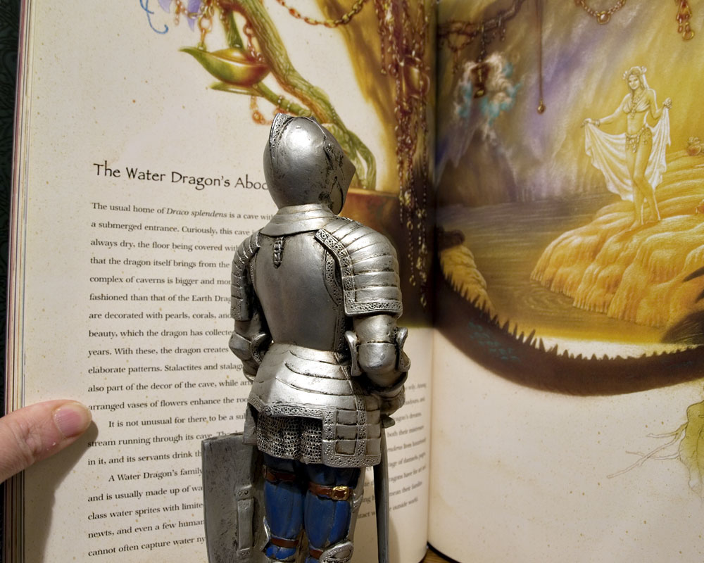 knight figure reading mythology book