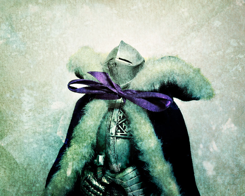 knight figure with purple velvet cloak