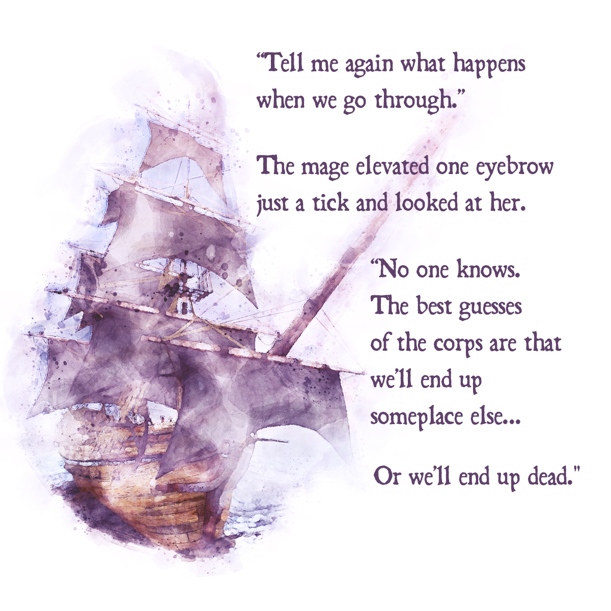 watercolor render of sailing ship with text