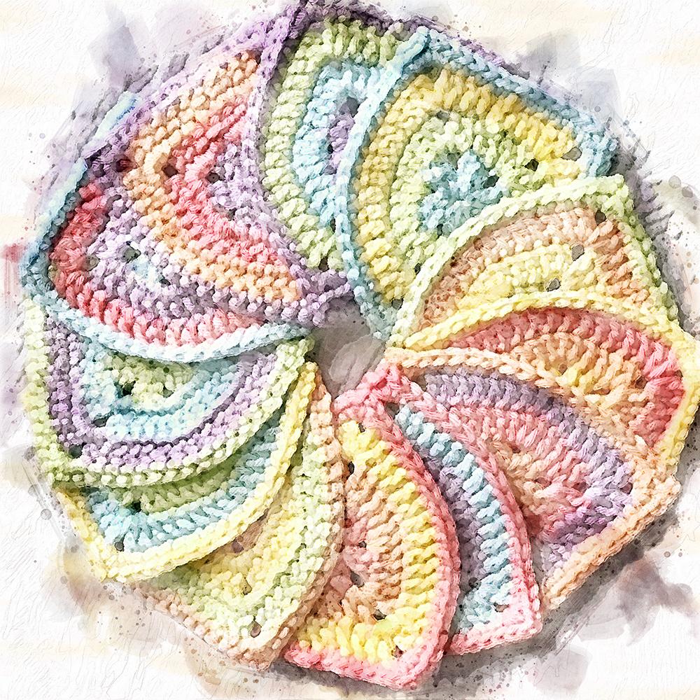 watercolor render of crochet pennants