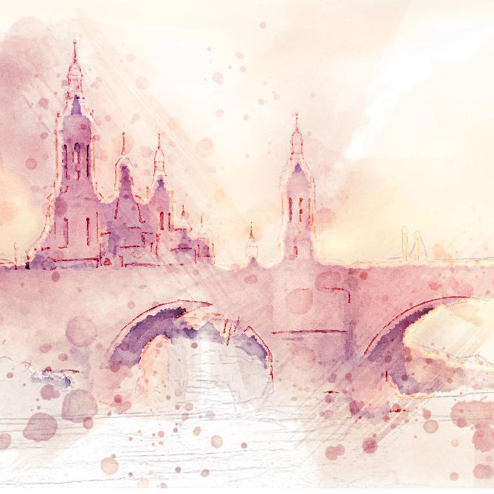 watercolor render of city bridge