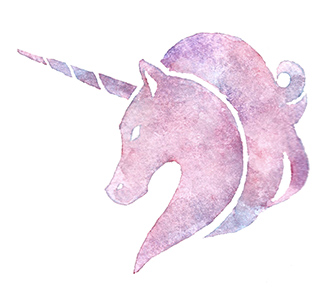 watercolor unicorn head