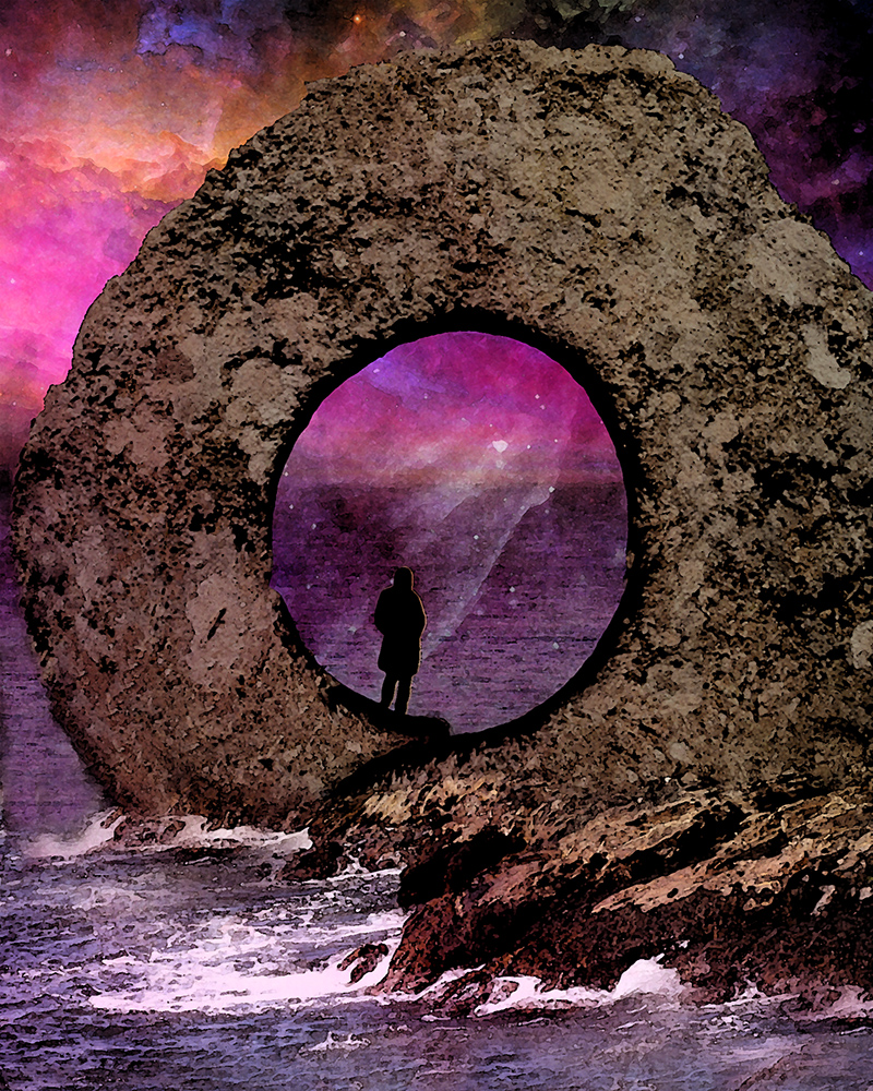 digital composition of stone circle with man looking out over the ocean