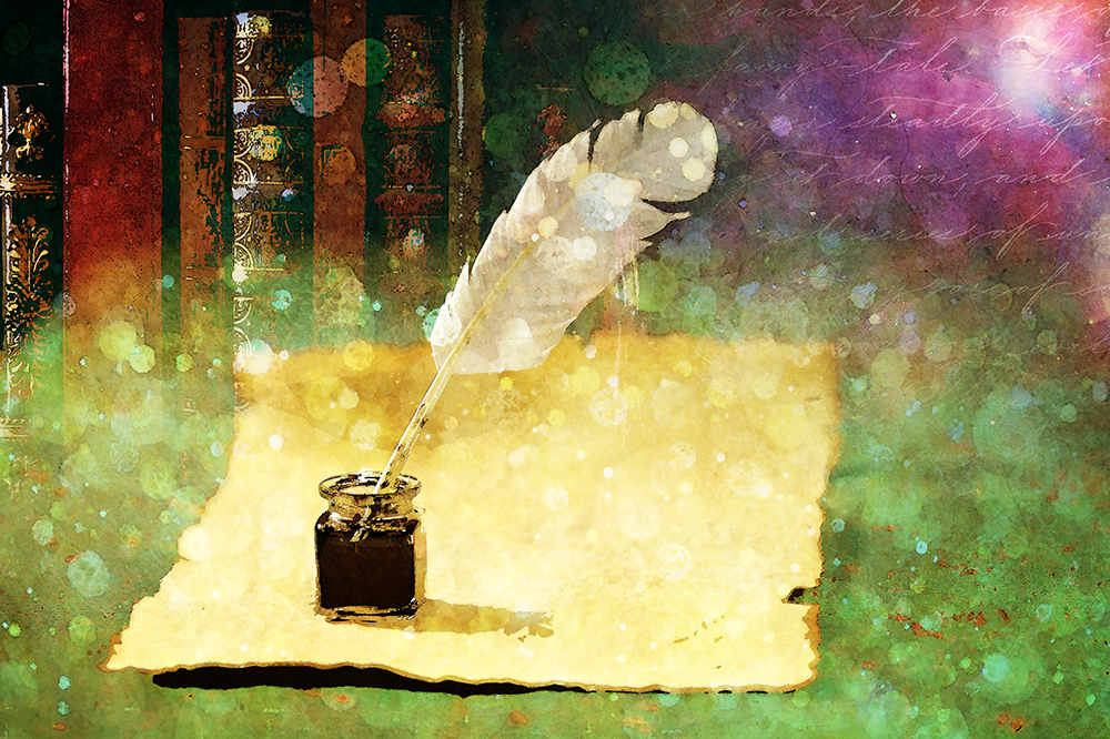 digital manipulation of scroll, ink bottle, quill and books