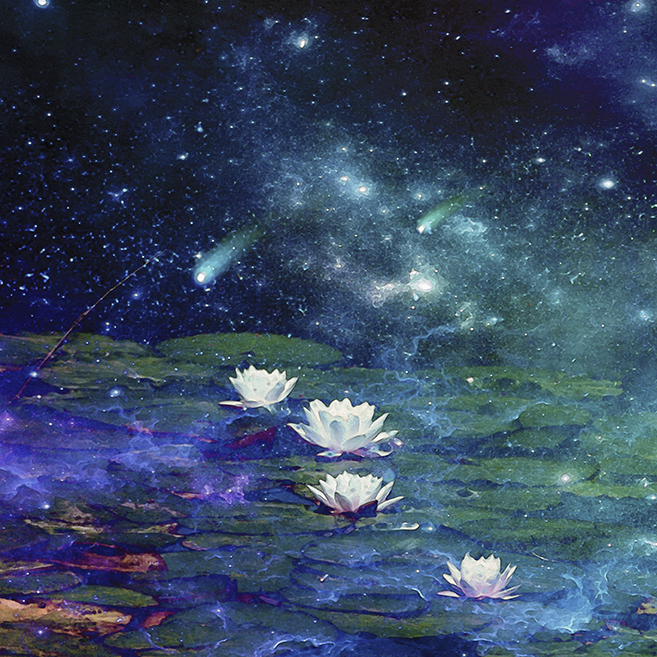 digital art of galaxy and lily pond
