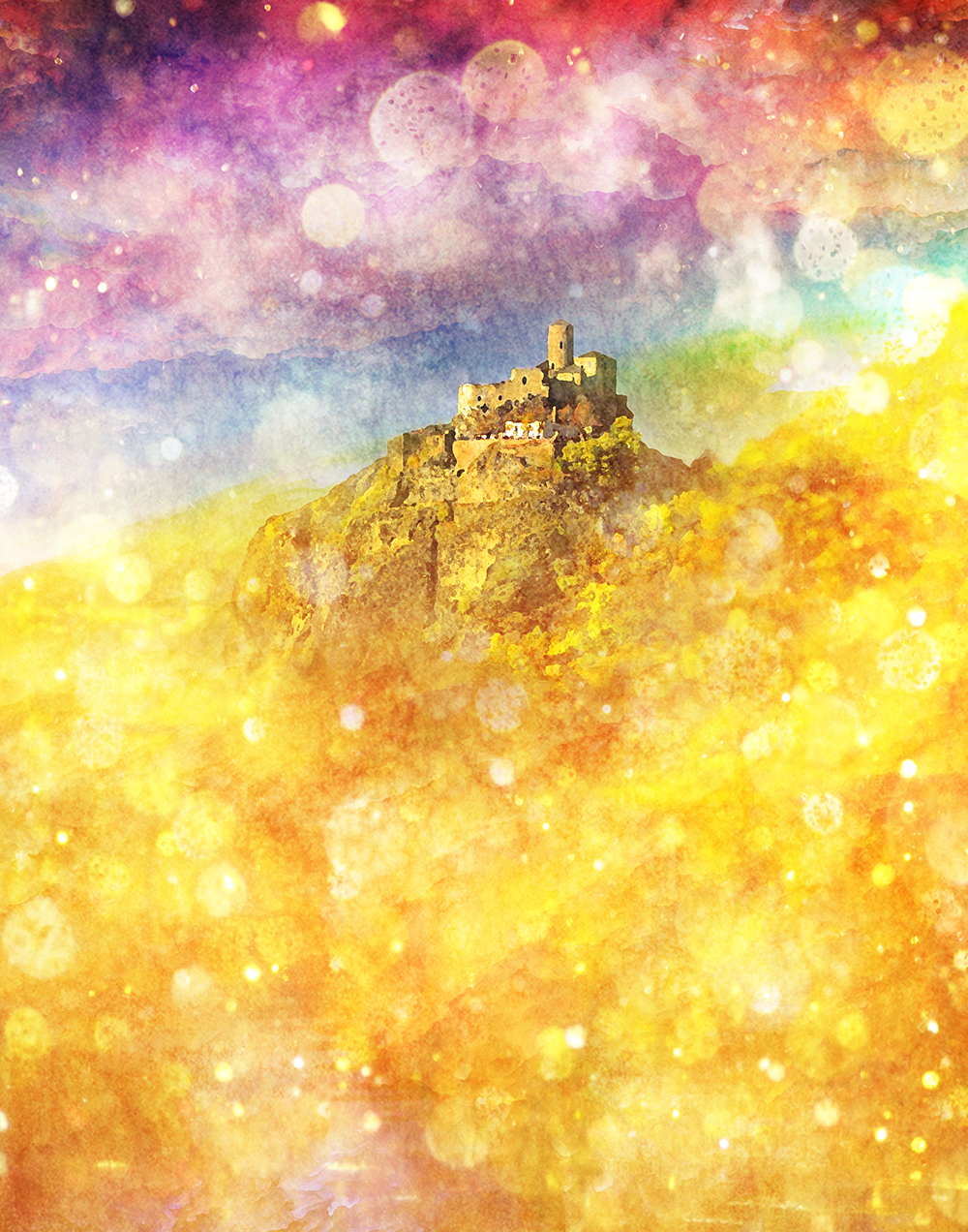 castle in field of gold and rainbows